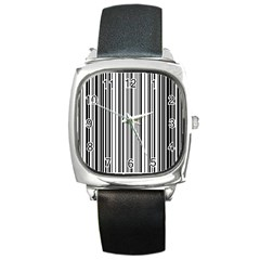 Barcode Pattern Square Metal Watch