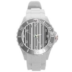 Barcode Pattern Round Plastic Sport Watch (L)
