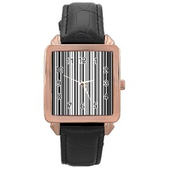 Barcode Pattern Rose Gold Leather Watch