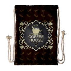 Coffee House Drawstring Bag (Large)
