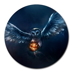 Owl And Fire Ball Round Mousepads
