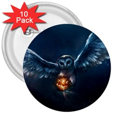 Owl And Fire Ball 3  Buttons (10 pack)
