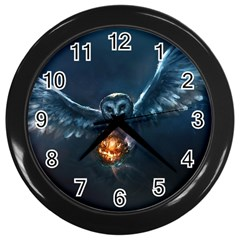 Owl And Fire Ball Wall Clocks (Black)