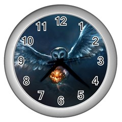 Owl And Fire Ball Wall Clocks (Silver)