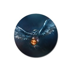Owl And Fire Ball Magnet 3  (Round)