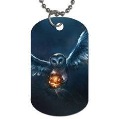 Owl And Fire Ball Dog Tag (Two Sides)