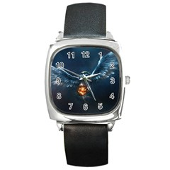 Owl And Fire Ball Square Metal Watch