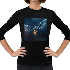 Owl And Fire Ball Women s Long Sleeve Dark T-Shirts
