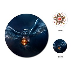 Owl And Fire Ball Playing Cards (Round)