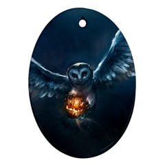 Owl And Fire Ball Oval Ornament (Two Sides)