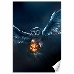 Owl And Fire Ball Canvas 12  x 18