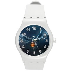 Owl And Fire Ball Round Plastic Sport Watch (M)