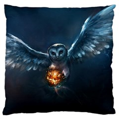 Owl And Fire Ball Large Cushion Case (Two Sides)