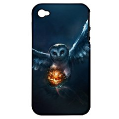 Owl And Fire Ball Apple iPhone 4/4S Hardshell Case (PC+Silicone)