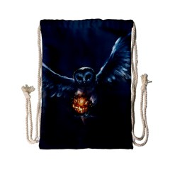 Owl And Fire Ball Drawstring Bag (Small)