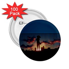 Art Sunset Anime Afternoon 2.25  Buttons (100 pack)