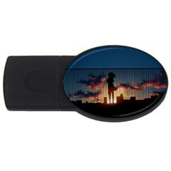 Art Sunset Anime Afternoon USB Flash Drive Oval (2 GB)
