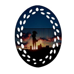 Art Sunset Anime Afternoon Oval Filigree Ornament (Two Sides)