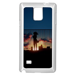 Art Sunset Anime Afternoon Samsung Galaxy Note 4 Case (White)