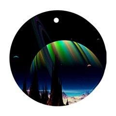 Planets In Space Stars Round Ornament (Two Sides)
