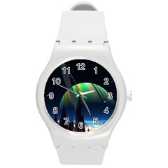 Planets In Space Stars Round Plastic Sport Watch (M)
