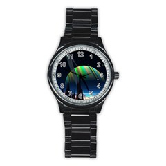 Planets In Space Stars Stainless Steel Round Watch