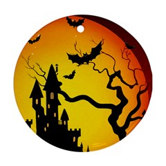 Halloween Night Terrors Round Ornament (Two Sides)