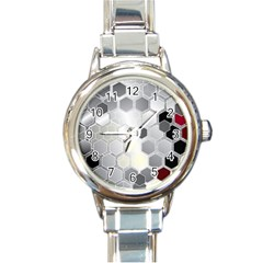 Honeycomb Pattern Round Italian Charm Watch