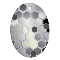 Honeycomb Pattern Oval Ornament (Two Sides)