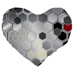 Honeycomb Pattern Large 19  Premium Flano Heart Shape Cushions