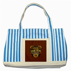 Tattoo Art Print Traditional Artwork Lighthouse Wave Striped Blue Tote Bag