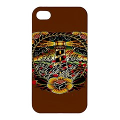 Tattoo Art Print Traditional Artwork Lighthouse Wave Apple iPhone 4/4S Premium Hardshell Case
