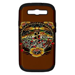 Tattoo Art Print Traditional Artwork Lighthouse Wave Samsung Galaxy S III Hardshell Case (PC+Silicone)