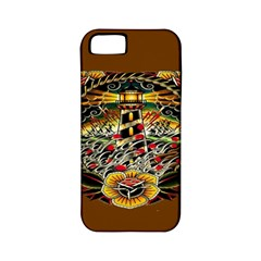 Tattoo Art Print Traditional Artwork Lighthouse Wave Apple iPhone 5 Classic Hardshell Case (PC+Silicone)