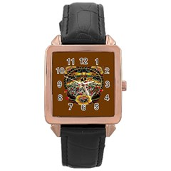 Tattoo Art Print Traditional Artwork Lighthouse Wave Rose Gold Leather Watch