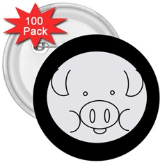 Pig Logo 3  Buttons (100 pack)