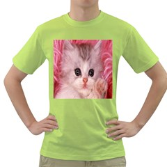 Cat Animal Kitten Pet Green T-Shirt