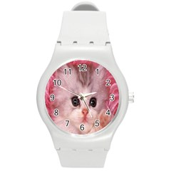 Cat Animal Kitten Pet Round Plastic Sport Watch (M)