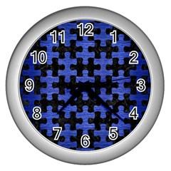 PUZ1 BK-MRBL BL-BRSH Wall Clocks (Silver)
