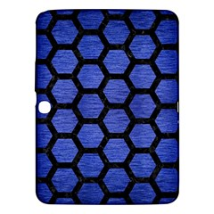 Hexagon2 Black Marble & Blue Brushed Metal (r) Samsung Galaxy Tab 3 (10 1 ) P5200 Hardshell Case