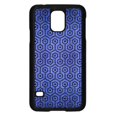 Hexagon1 Black Marble & Blue Brushed Metal (r) Samsung Galaxy S5 Case (black)