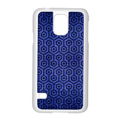 Hexagon1 Black Marble & Blue Brushed Metal (r) Samsung Galaxy S5 Case (white)