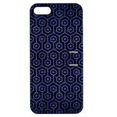 Hexagon1 Black Marble & Blue Brushed Metal Apple Iphone 5 Hardshell Case With Stand