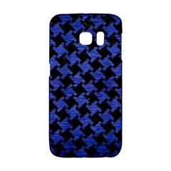 Houndstooth2 Black Marble & Blue Brushed Metal Samsung Galaxy S6 Edge Hardshell Case