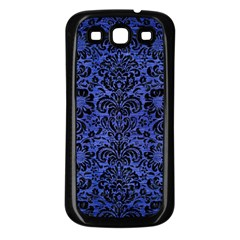 Damask2 Black Marble & Blue Brushed Metal (r) Samsung Galaxy S3 Back Case (black)