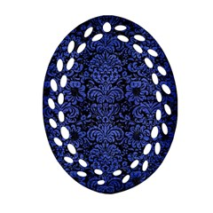 Damask2 Black Marble & Blue Brushed Metal Oval Filigree Ornament (two Sides)