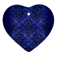 DMS1 BK-MRBL BL-BRSH (R) Heart Ornament (Two Sides)