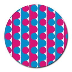Pink And Bluedots Pattern Round Mousepads