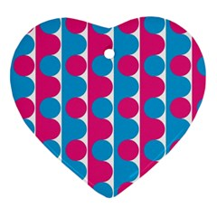 Pink And Bluedots Pattern Ornament (Heart)