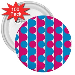 Pink And Bluedots Pattern 3  Buttons (100 pack)